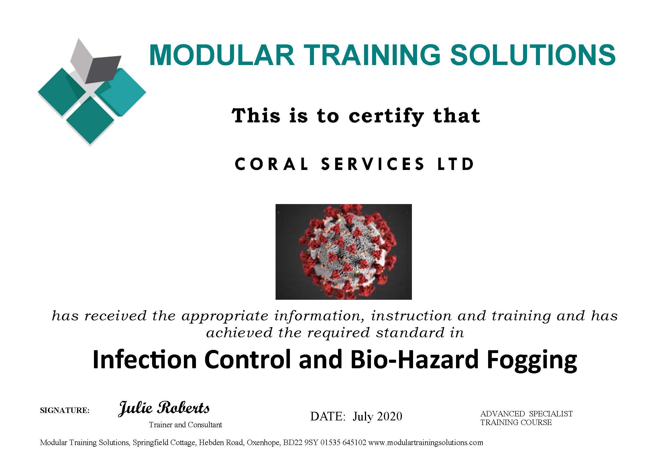 Disinfection Control and Bio-Hazard Fogging Certificate